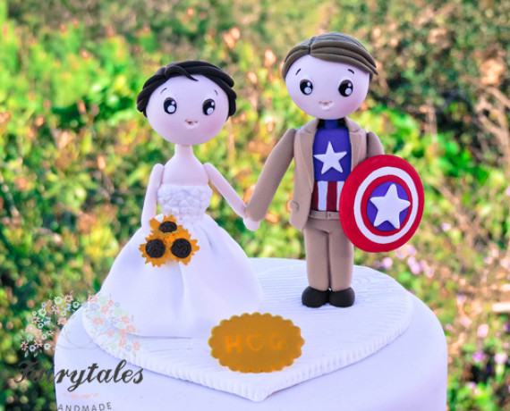 Captain America Inspered Wedding Cake Topper