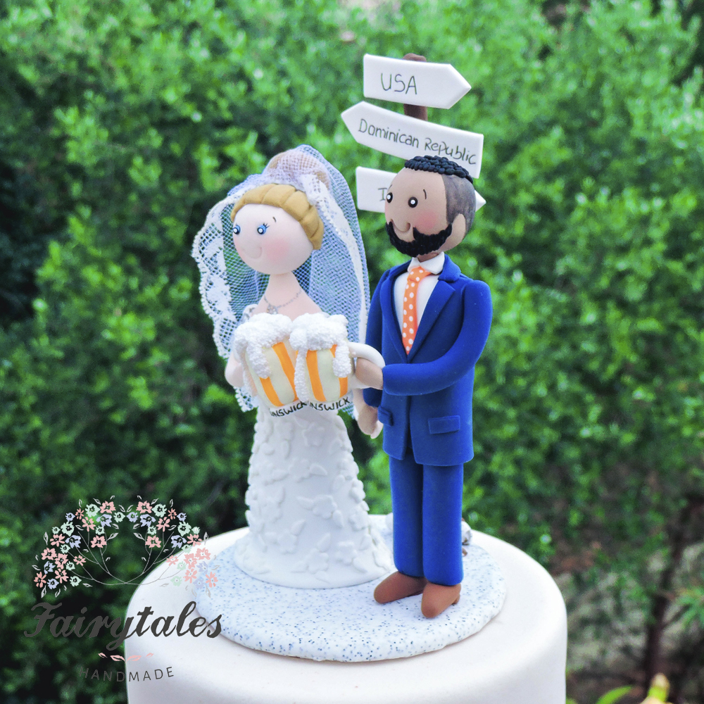 beer wedding cake topper amp travel wedding cake topper fairytales handmade 11259