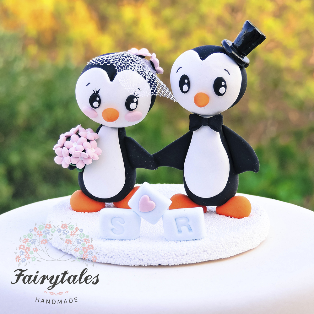 Penguin Wedding Cake Topper | Fairytales Handmade